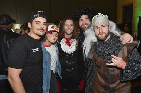 NASHVILLE, TN - OCTOBER 27: Singer-songwriter Brad Paisley, Zach Swon and Colton Swon of The Swon Brothers attend the Xbox Halloween Gaming Event hosted by Brad Paisley and Kimberly Williams-Paisley at Ruby on October 27, 2017 in Nashville, Tennessee.  (Photo by John Shearer/Getty Images for Xbox)
