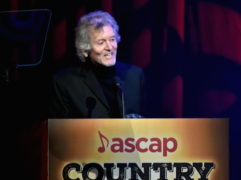 NASHVILLE, TN - NOVEMBER 06:  Singer-songwriter Rodney Crowell accepts the ASCAP Founders Award onstage during the 55th annual ASCAP Country Music awards at the Ryman Auditorium on November 6, 2017 in Nashville, Tennessee.  (Photo by Rick Diamond/Getty Images)