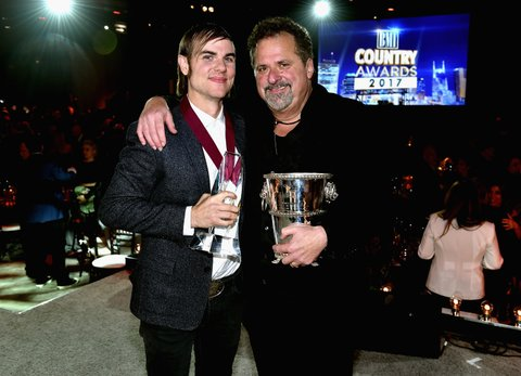 NASHVILLE, TN - NOVEMBER 07: Songwriters Ross Copperman and Bob DiPiero pose for a photo onstage during the 65th Annual BMI Country Awards at BMI on November 7, 2017 in Nashville, Tennessee.  (Photo by John Shearer/Getty Images for BMI)