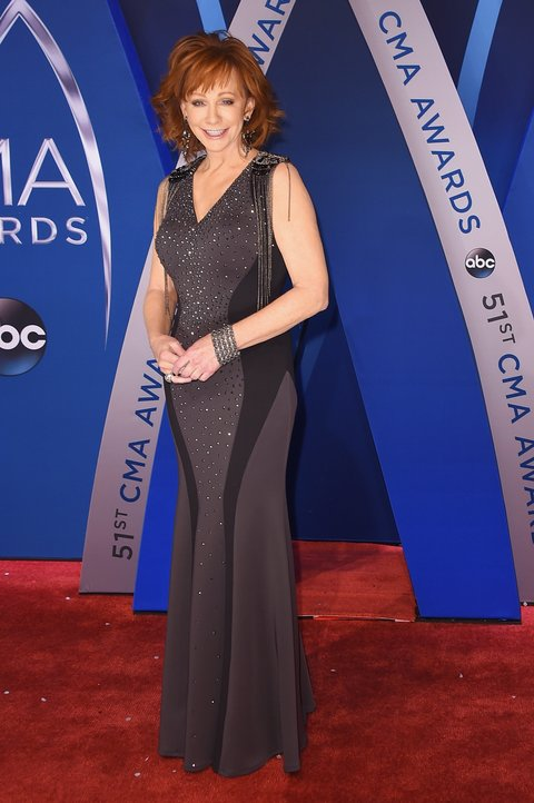 NASHVILLE, TN - NOVEMBER 08: Singer-songwriter Reba McEntire attends the 51st annual CMA Awards at the Bridgestone Arena on November 8, 2017 in Nashville, Tennessee.  (Photo by Michael Loccisano/Getty Images)