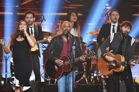 NASHVILLE, TN - NOVEMBER 08:  Hillary Scott, and Dave Haywood of Lady Antebellum and Darius Rucker (C) perform onstage at the 51st annual CMA Awards at the Bridgestone Arena on November 8, 2017 in Nashville, Tennessee.  (Photo by John Shearer/WireImage)