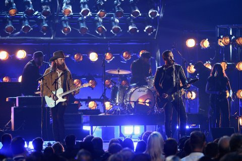NASHVILLE, TN - NOVEMBER 08:  Musicians John Osborne and T.J Osborne of Brothers Osborne perform onstage at the 51st annual CMA Awards at the Bridgestone Arena on November 8, 2017 in Nashville, Tennessee.  (Photo by Terry Wyatt/FilmMagic)