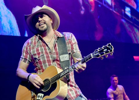 NASHVILLE, TN - NOVEMBER 12:  In this handout photo provided by The Country Rising Fund of The Community Foundation of Middle Tennessee, singer Jason Aldean performs onstage for the Country Rising Benefit Concert at Bridgestone Arena on November 12, 2017 in Nashville, Tennessee.  (Photo by Rick Diamond/Country Rising/Getty Images)
