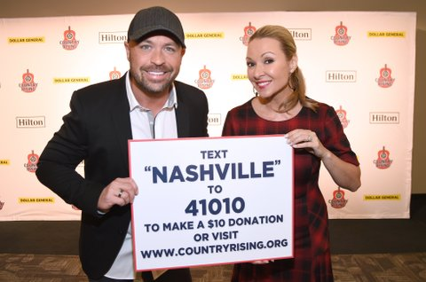 NASHVILLE, TN - NOVEMBER 12:  In this handout photo provided by The Country Rising Fund of The Community Foundation of Middle Tennessee, CMT's CMT Radio's Cody Allen and Katie Cook pose backstage for the Country Rising Benefit Concert at Bridgestone Arena on November 12, 2017 in Nashville, Tennessee.  (Photo by Rick Diamond/Country Rising/Getty Images)