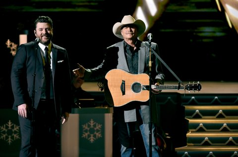 NASHVILLE, TN - NOVEMBER 14:  Chris Young and Alan Jackson perform onstage for CMA 2017 Country Christmas at The Grand Ole Opry on November 14, 2017 in Nashville, Tennessee.  (Photo by John Shearer/Getty Images,)