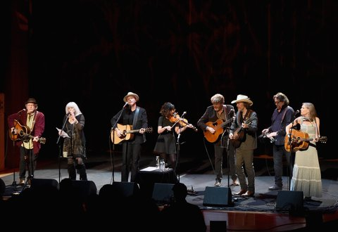 NASHVILLE, TN - DECEMBER 19:  Buddy Miller, Emmylou Harris, Jason Isbell, Amanda Shires, Mac McAnally, David Rawlings, Jerry Douglas, and Gillian Welch perform onstage at Country Music Hall of Fame and Museum on December 19, 2017 in Nashville, Tennessee.  (Photo by Rick Diamond/Getty Images for Country Music Hall Of Fame & Museum)