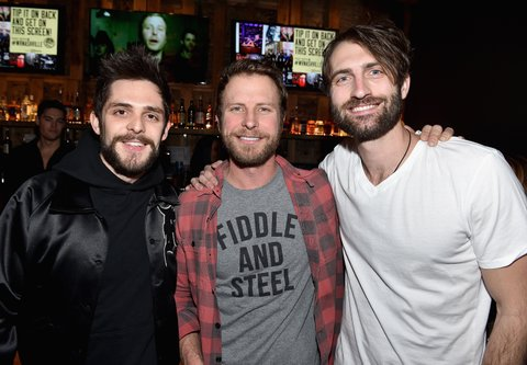 NASHVILLE, TN - JANUARY 14: Thomas Rhett, Dierks Bentley, and Ryan Hurd attend the Nashville Opening of Dierks Bentley's Whiskey Row on January 14, 2018 in Nashville, Tennesse  (Photo by John Shearer/Getty Images for Dierks Bentley's Whiskey Row Nashville)