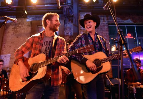 NASHVILLE, TN - JANUARY 14:  Dierks Bentley and Jon Pardi perform onstage during the Nashville Opening of Dierks Bentley's Whiskey Row on January 14, 2018 in Nashville, Tennesse  (Photo by John Shearer/Getty Images for Dierks Bentley's Whiskey Row Nashville)
