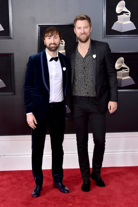NEW YORK, NY - JANUARY 28:  Recording artists Dave Haywood (L) and Charles Kelley of musical groups Lady Antebellum attend the 60th Annual GRAMMY Awards at Madison Square Garden on January 28, 2018 in New York City.  (Photo by Mike Coppola/FilmMagic)