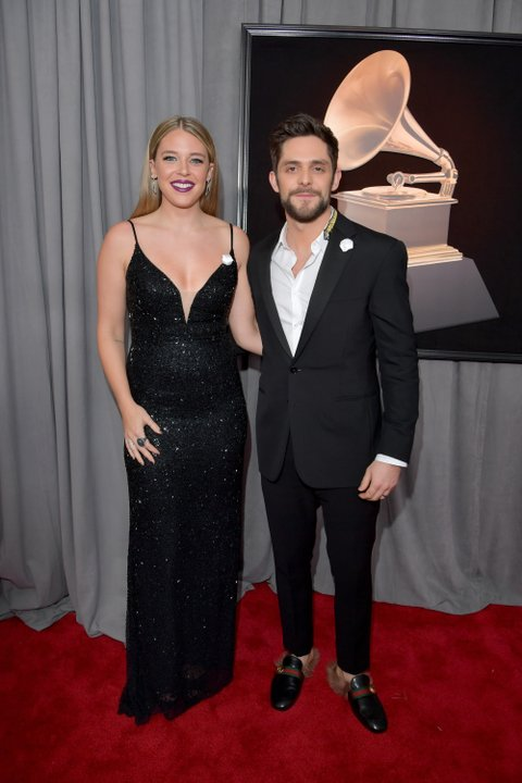 NEW YORK, NY - JANUARY 28:  Lauren Akins and recording artist Thomas Rhett attends the 60th Annual GRAMMY Awards at Madison Square Garden on January 28, 2018 in New York City.  (Photo by Lester Cohen/Getty Images for NARAS)