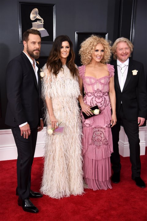 NEW YORK, NY - JANUARY 28:  (L-R) Recording artists Jimi Westbrook, Karen Fairchild, Kimberly Schlapman, and Philip Sweet of musical group Little Big Town attend the 60th Annual GRAMMY Awards at Madison Square Garden on January 28, 2018 in New York City.  (Photo by Dimitrios Kambouris/Getty Images for NARAS)