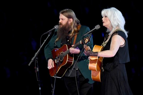 NEW YORK, NY - JANUARY 28:  Recording artists Chris Stapleton (L) and Emmylou Harris perform onstage during the 60th Annual GRAMMY Awards at Madison Square Garden on January 28, 2018 in New York City.  (Photo by Jeff Kravitz/FilmMagic)