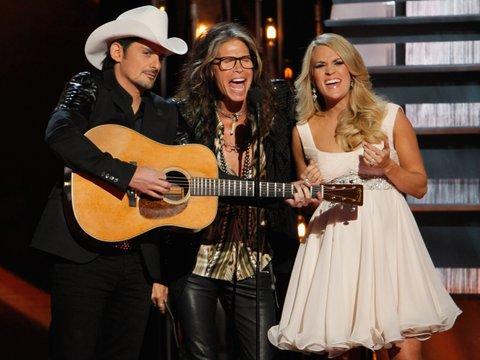 Brad Paisley (left), Steven Tyler and Carrie Underwood