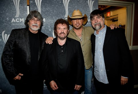 NASHVILLE, TN - SEPTEMBER 01:  Alabama's Randy Owen and Jeff Cook, Jason Aldean, and Alabama's Teddy Gentry pose backstage during the 9th Annual ACM Honors at the Ryman Auditorium on September 1, 2015 in Nashville, Tennessee.  (Photo by Rick Diamond/Getty Images for ACM)