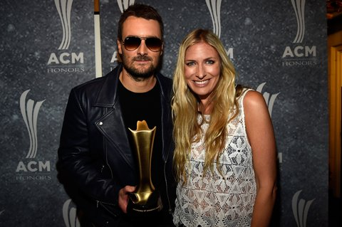 NASHVILLE, TN - SEPTEMBER 01: Eric Church and Holly Williams pose backstage during the 9th Annual ACM Honors at the Ryman Auditorium on September 1, 2015 in Nashville, Tennessee.  (Photo by Rick Diamond/Getty Images for ACM)