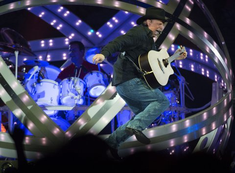 DENVER, CO, - MARCH 18: Garth Brooks performs during his, The Garth Brooks World Tour with Trisha Yearwood tour March 18, 2015 at Pepsi Center. (Photo By John Leyba/The Denver Post via Getty Images)
