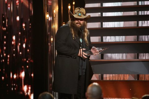 NASHVILLE, TN - NOVEMBER 04: New Artist of the Year winner Chris Stapleton accepts award onstage at the 49th annual CMA Awards at the Bridgestone Arena on November 4, 2015 in Nashville, Tennessee.  (Photo by Terry Wyatt/WireImage)