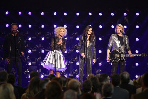 NASHVILLE, TN - NOVEMBER 04:  (L-R) Jimi Westbrook, Kimberly Schlapman, Karen Fairchild, and Phillip Sweet of Little Big Town perform onstage at the 49th annual CMA Awards at the Bridgestone Arena on November 4, 2015 in Nashville, Tennessee.  (Photo by Terry Wyatt/WireImage)