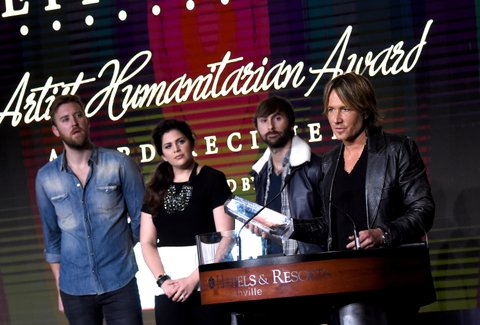 NASHVILLE, TN - FEBRUARY 08: Charles Kelley, Hillary Scott, and Dave Haywood present Keith Urban with the Artist Humanitarian Award during the CRS 2016 at Omni Hotel on February 8, 2016 in Nashville, Tennessee.  (Photo by Rick Diamond/Getty Images)