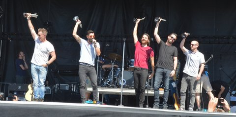 LAS VEGAS, NEVADA - APRIL 03:  (L-R) Keyboardist Trevor Rosen, lead singer Matthew Ramsey, bassist Geoff Sprung, guitarist Brad Tursi and drummer Whit Sellers of Old Dominion accept the ACM Award for New Vocal Duo or Group of the Year during the ACM Party for a Cause Festival at the Las Vegas Festival Grounds on April 3, 2016 in Las Vegas, Nevada.  (Photo by Mindy Small/FilmMagic)