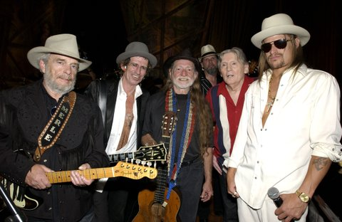 Merle Haggard, Keith Richards, Willie Nelson, Jerry Lee Lewis and Kid Rock (Photo by M. Caulfield/WireImage for NBC Universal Photo Department)