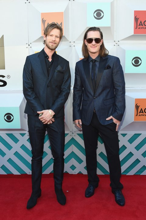 LAS VEGAS, NEVADA - APRIL 03: Recording artists Brian Kelley (L) and Tyler Hubbard of Florida Georgia Line attend the 51st Academy of Country Music Awards at MGM Grand Garden Arena on April 3, 2016 in Las Vegas, Nevada.