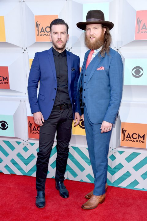 LAS VEGAS, NEVADA - APRIL 03: Singers T.J. Osborne (L) and John Osborne of Brothers Osborne attend the 51st Academy of Country Music Awards at MGM Grand Garden Arena on April 3, 2016 in Las Vegas, Nevada.