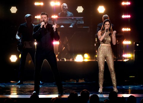 LAS VEGAS, NEVADA - APRIL 03: Recording artists Chris Young (L) and Cassadee Pope perform onstage during the 51st Academy of Country Music Awards at MGM Grand Garden Arena on April 3, 2016 in Las Vegas, Nevada.