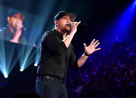 LAS VEGAS, NEVADA - APRIL 03: Recording artist Cole Swindell performs onstage during the 51st Academy of Country Music Awards at MGM Grand Garden Arena on April 3, 2016 in Las Vegas, Nevada.