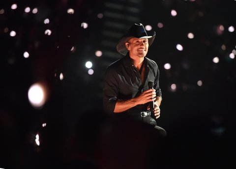 LAS VEGAS, NEVADA - APRIL 03: Recording artist Tim McGraw performs onstage during the 51st Academy of Country Music Awards at MGM Grand Garden Arena on April 3, 2016 in Las Vegas, Nevada.