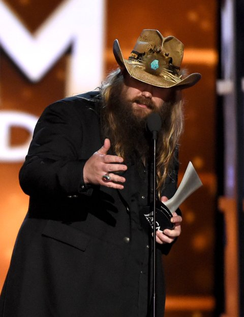 LAS VEGAS, NEVADA - APRIL 03:  Recording artist Chris Stapleton accepts the Male Vocalist of the Year award onstage during the 51st Academy of Country Music Awards at MGM Grand Garden Arena on April 3, 2016 in Las Vegas, Nevada.  (Photo by Ethan Miller/Getty Images)