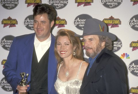 Country Singers Vince Gill and Merle Haggard and Actress Jane Seymour attend the 29th Annual Academy of Country Music Awards on May 3, 1994 at Universal Amphitheatre in Universal City, California. (Photo by Ron Galella, Ltd./WireImage)