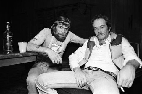 Johnny Paycheck and Merle Haggard at Countryside Opry, Chicago, Illinois, October 31, 1980. (Photo by Kirk West/Getty Images)