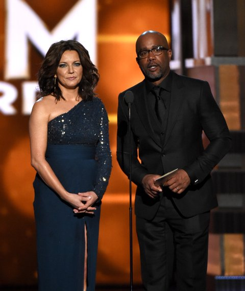 Martina McBride and Darius Rucker onstage during the 51st Academy of Country Music Awards at MGM Grand Garden Arena on April 3, 2016 in Las Vegas, Nevada.