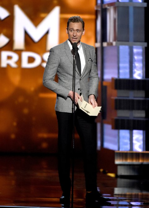 Tom Hiddleston onstage during the 51st Academy of Country Music Awards at MGM Grand Garden Arena on April 3, 2016 in Las Vegas, Nevada.