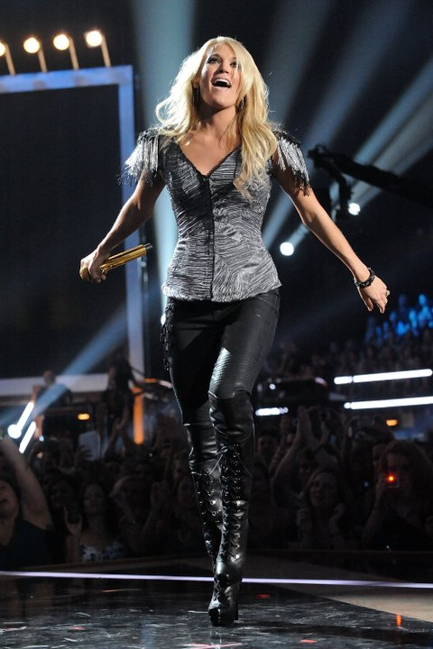 NASHVILLE, TN - JUNE 09:  Carrie Underwood performs onstage at the 2010 CMT Music Awards at the Bridgestone Arena on June 9, 2010 in Nashville, Tennessee.  (Photo by Jeff Kravitz/FilmMagic)