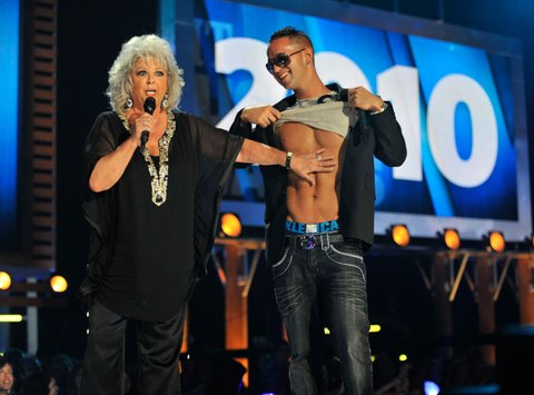 NASHVILLE, TN - JUNE 09:  Paula Deen and Mike 'The Situation' Sorrentino onstage during the 2010 CMT Music Awards at the Bridgestone Arena on June 9, 2010 in Nashville, Tennessee.  (Photo by Kevin Mazur/WireImage)