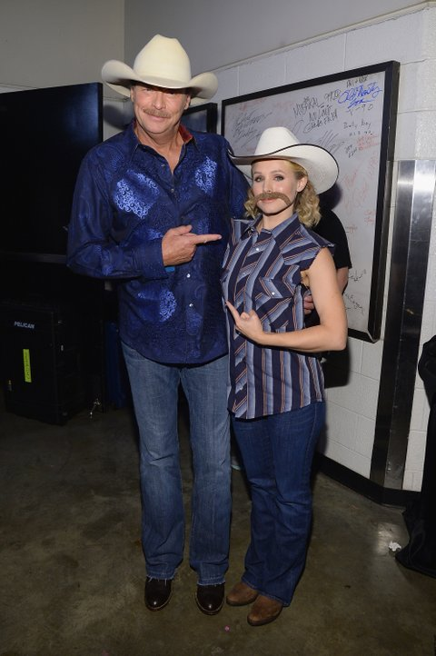 NASHVILLE, TN - JUNE 04:  Alan Jackson and Kristen Bell pose backstage during the 2014 CMT Music awards at the Bridgestone Arena on June 4, 2014 in Nashville, Tennessee.  (Photo by Larry Busacca/WireImage)