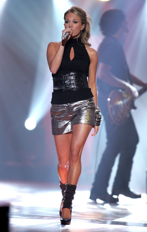 NASHVILLE, TN - APRIL 16:  Singer Carrie Underwood performs onstage at the 2007 CMT Music Awards at the Curb Event Center at Belmont University April 16, 2007 in Nashville, Tennessee.  (Photo by Peter Kramer/Getty Images)