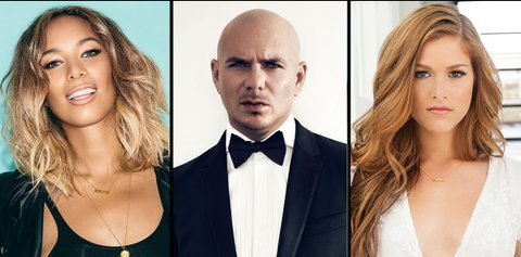 Cassadee Pope with Leona Lewis and Pitbull