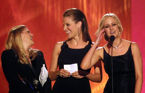 The Dixie Chicks accept their award during at the first ever CMT Flameworthy Video Music Awards at the Gaylord Entertainment Center in Nashville, Tennesee.  6/12/02  Photo by Scott Gries/Getty Images
