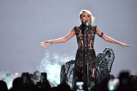 NASHVILLE, TN - JUNE 08:  Singer-songwriter Carrie Underwood performs onstage during the 2016 CMT Music awards at the Bridgestone Arena on June 8, 2016 in Nashville, Tennessee.  (Photo by Mike Coppola/Getty Images for CMT)