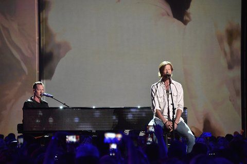 NASHVILLE, TN - JUNE 08:  Tyler Hubbard, Brian Kelley from musicial group Florida Georia Line perform onstage during the 2016 CMT Music awards at the Bridgestone Arena on June 8, 2016 in Nashville, Tennessee.  (Photo by Mike Coppola/Getty Images for CMT)
