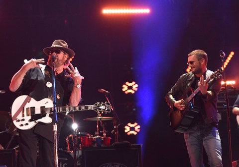 NASHVILLE, TN - JUNE 10:  Eric Church (R) performs with Hank Williams Jr. during the 2016 CMA Music Festival on June 10, 2016 in Nashville, Tennessee.  (Photo by C Flanigan/FilmMagic)