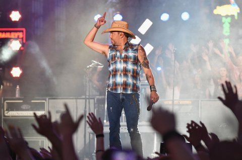 NASHVILLE, TN - JUNE 07:  Singer-songwriter Jason Aldean performs on stage during rehearsals at Bridgestone Arena on June 7, 2016 in Nashville, Tennessee.  (Photo by Mike Coppola/Getty Images for CMT)