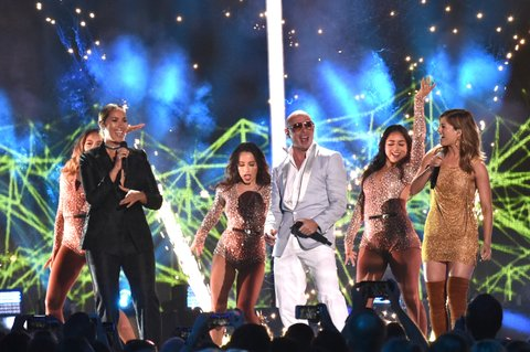 NASHVILLE, TN - JUNE 08:  Singer-songwriter Leona Lewis, Rapper Pitbull and singer-songwriter Cassadee Pope onstage during the 2016 CMT Music awards at the Bridgestone Arena on June 8, 2016 in Nashville, Tennessee.  (Photo by Mike Coppola/Getty Images for CMT)
