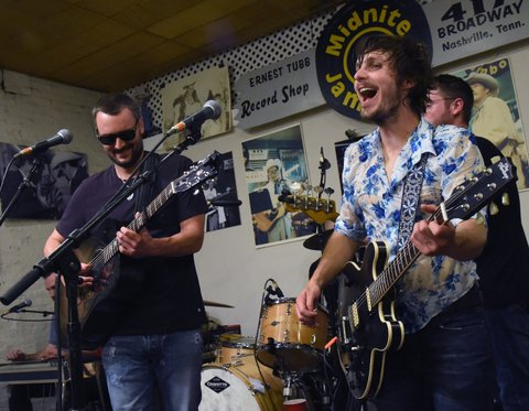 NASHVILLE, TN - JUNE 10:  Singer/Songwriter Eric Church joins Singer/Songwriter Charlie Worsham on stage during Midnight Jam - Day 2 at Ernest Tubb Record Store on June 10, 2016 in Nashville, Tennessee.  (Photo by Rick Diamond/Getty Images,)