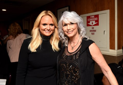 NASHVILLE, TN - AUGUST 30:  Singer-songwriters Miranda Lambert and Emmylou Harris backstage during the 10th Annual ACM Honors at the Ryman Auditorium on August 30, 2016 in Nashville, Tennessee.  (Photo by Erika Goldring/Getty Images for ACM)