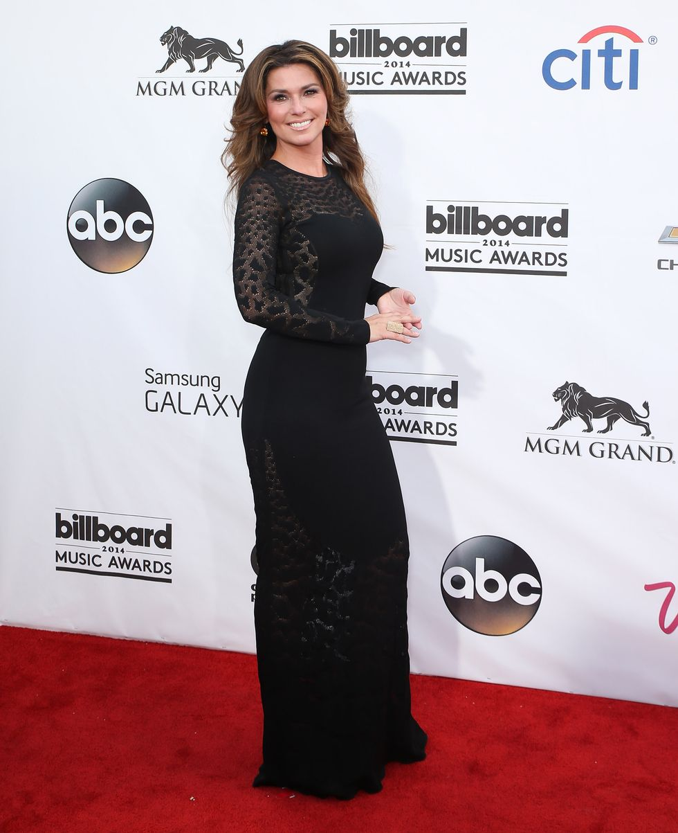 LAS VEGAS, NV - MAY 18:  Singer Shania Twain arrives at the 2014 Billboard Music Awards at the MGM Grand Garden Arena on May 18, 2014 in Las Vegas, Nevada.  (Photo by Gabe Ginsberg/WireImage)