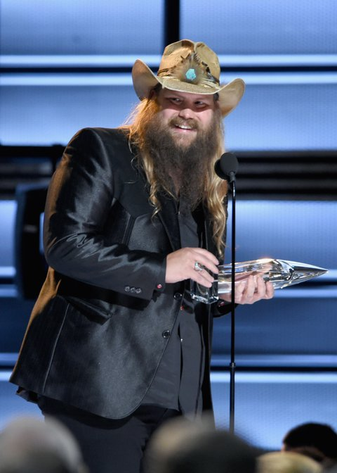 NASHVILLE, TN - NOVEMBER 02:  Chris Stapleton accepts award onstage at the 50th annual CMA Awards at the Bridgestone Arena on November 2, 2016 in Nashville, Tennessee.  (Photo by Erika Goldring/FilmMagic)